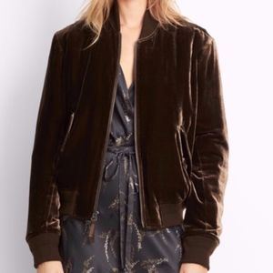 Velvet bomber jacket crafted in a slightly cropped